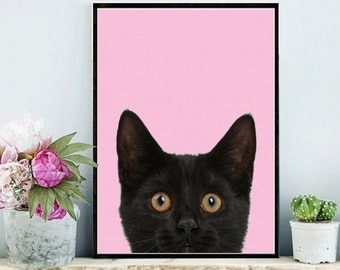 Cat Print, Printable Art, Cat Art Print, digital Download, Pink Wall Art, Scandinavian Art,  Wall Decor, Home Decor, Cat Photo