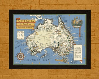 Printed on textured bamboo Art paper - Map Australia 1942 Ancient Map  Art Antique Map Poster Old Map Australia Map Australia Poster