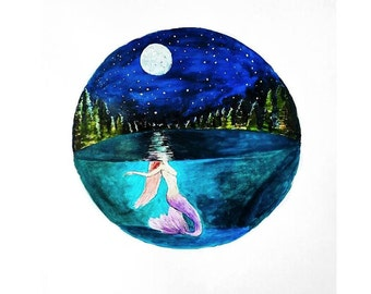 A4 Mystic Mermaid Underwater World painting