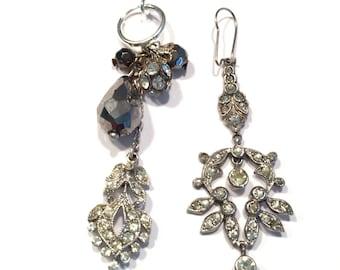 Rhinestone Asymetrical Vintage Upcycled Earrings