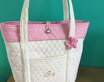 """Shop """"monogram tote bag"""" in Diaper Bags"""