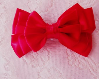 Red hair bow,  red silk hair bow, (Red triple double layered boutique bow)