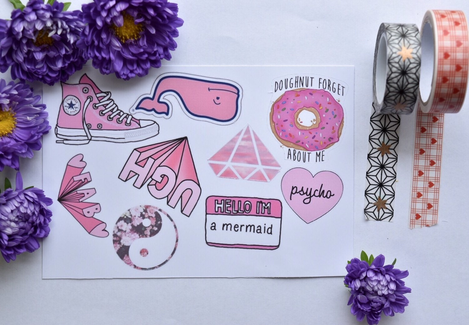 Pink Girly Tumblr Stickers 9 Pack Laptop By