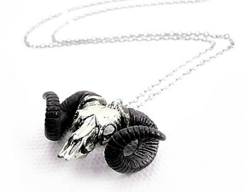 Zodiac pendant Ramble skull for Aries oxidized antique color ,Rocker jewelry ,Skull jewelry,Biker jewelry