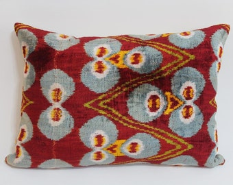 İkat Velvet Pillow Cover, 13.5'' x 20'' , Decorative Pillow, Handmade Silk Pillow, İkat Lumbar Pillow,  Shipping with Fedex 1-3 days
