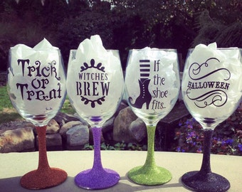 Set of 4 Halloween wine glasses