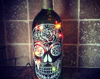 Sugar skull wine bottle light