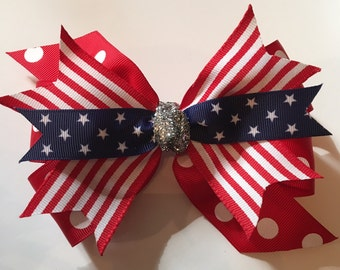 4th of July Hair Bow, Fourth of July Bow, July 4th Bow, Red White Blue Hair Bow, Patriotic Hair Bow, Stars and Stripes Bow, USA Hair Bow
