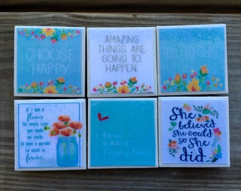 Blue Quote Magnets (Set of 6)