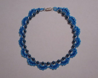 Lacy teal choker necklace