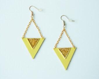 Ethnic Earrings - Leather Earrings - beautifull  - Earrings geometric - graphics earrings - Yellow earrings - Boho earrings