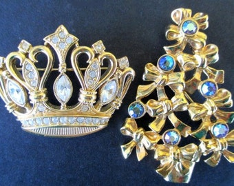 Christmas Pins * Tree * Crown * Classic AVON * KJL For Avon * Lot Of Two Pins * Gift For Lady