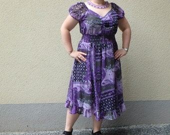 Vintage summer dress - purple, grey, white, Cyclam, chain-> FREE SHIPPING