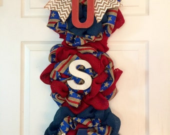 Fourth of July Swag Wreath, Fourth of July Door Hanger,Rustic Burlap America Wreath, Rustic Patriotic Wreath, Burlap Summer Swag Wreath