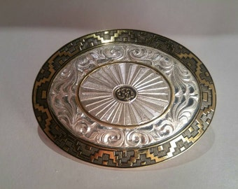 Heavy Silver Plate on Jewelers' Bronze Crumrine Belt Buckle