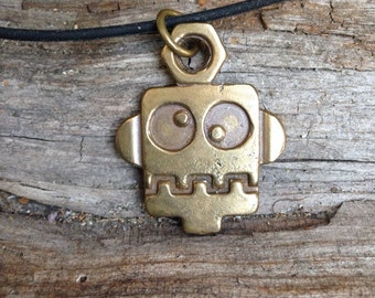 gift for men, Robot necklace, robot charm, hand casted in bronze on a rubber cord teens love this pendent