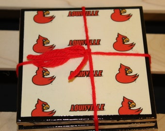 Tile Coasters University of Louisville black trim - uofl, go cards, louisville, college, basketball, football, sports, cardinals