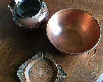 Last chance Sale! Set of 3 copper items....   Vintage Copper container with porcelain handle, ashtray and bowl...  All mid 20th century