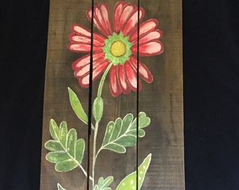 Flower Art-Spring Flower-Flowers-Gardening Art-Summer Art-Reclaimed Wood Art-Hand Painted Flowers