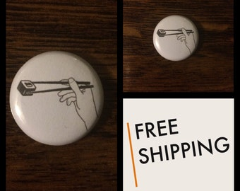 Sushi and Chopsticks Button Pin, FREE SHIPPING