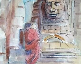 Original Watercolor and Pen Sketch, Angkor Wat, Cambodia