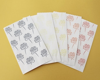 """Paper carrier bags small roses series """"monkey with it"""" 9 x 15 cm Flat paper bags"""