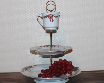 3 tier cake stand, Christmas dinnerware, 3 tier dessert stand, tidbit tray, fruit stand, pastry stand, brunch, buffet