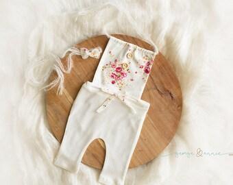 Robyn Romper & Bonnet Set - Newborn, 6-9 Months or 12 Months - Photography Prop - Baby Girl