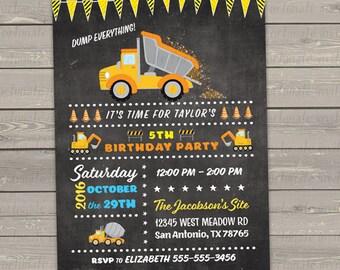 construction birthday invitations printable, dump truck invitation, kids birthday party invites printed digital or printed