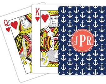 Personalized Monogram Playing Cards - Choice of Pattern, Color, Frame & Monogram - Design Your Own Poker Deck of Cards