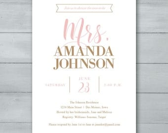 Bridal Shower Invitation  |  Mrs. Bridal Shower Invite  |  Bride To Be Invitation