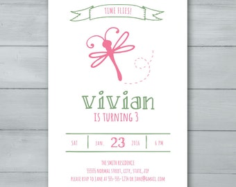 Dragonfly Birthday Party Invitation  |  Dragonfly Invitation  |  Bug Invite  |  Insect Invite
