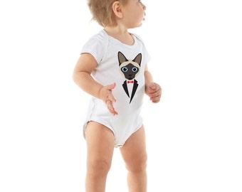 Siamese Cat in a Tuxedo Onesie - Baby Clothes