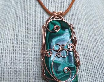 Swirly Steampunk Copper Malachite Pendant
