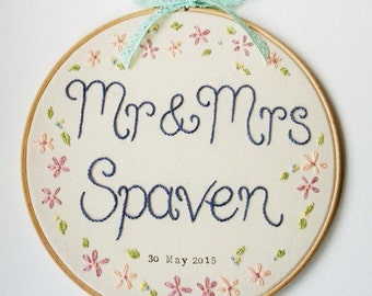 Hand Embroidered 10 inch Wedding Hoop - Wedding Gift - Wedding Decoration