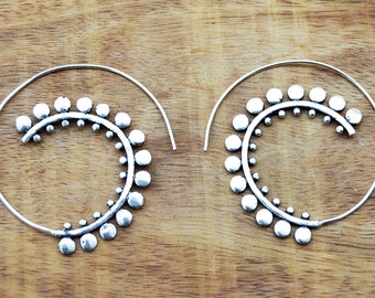 Silver Spiral Earrings, Gypsy Earrings, Silver Tribal Earrings, Spiral Hoop Earrings, Silver Earrings, Ethnic Earrings, Boho Earrings