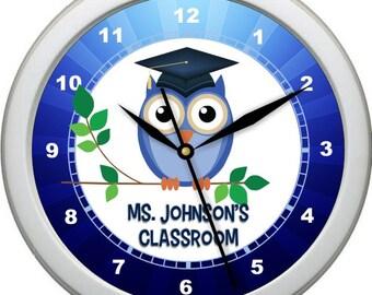 "Classroom Teacher Clock 10"" Personalized Blue Wall Clock Classroom Decor Owl Mortar Board Teacher Appreciation Gift"