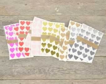 Little Heart Stickers / Heart Favors - 96 pc / Variety of Colors