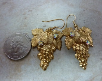 earrings brass and swarovski rhinestones grapes for the