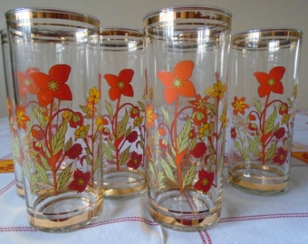 orange and yellow floral glasses gold gilt rims x 6