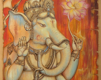 Ganesha painting. Wall art. Giclée canvas print, modern painting, acrylic painting