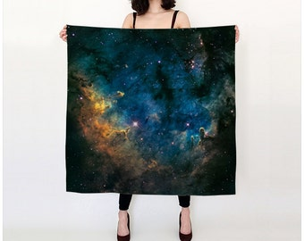 Galaxy Scarf, Silk Scarf, Outer Space Milky Way Nebula Stars, Women Fashion Accessories, Gift for Her, Boomerang Nebula