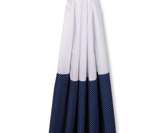 KraftKids curtains - uni white and white dots on dark blue