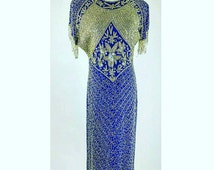 Vintage Dress 80's Beaded Sequin Long Blue Silver Evening Gown Silk Gunit L