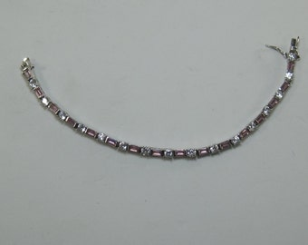 """Sterling Silver Pink and White Ice Tennis Bracelet 7.5"""""""