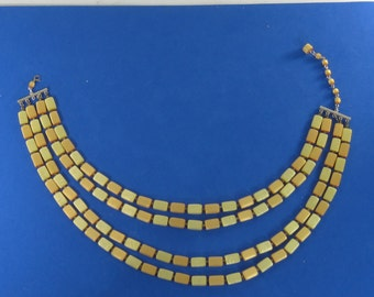 Vintage Costume Multi Strand Necklace with Yellow Wood Beads 17""
