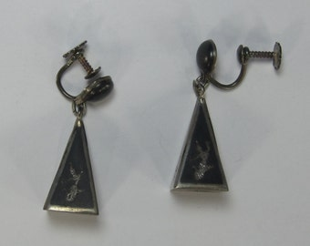 Very Vintage Sterling Silver Screwback Pyramid Art Deco Earrings