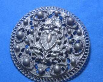 Antique Vintage Costume Brooch Metal with Engraved Heart Shield