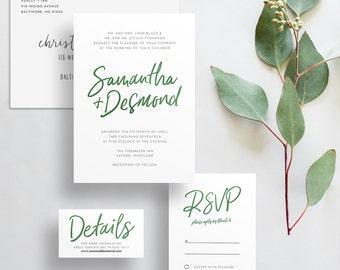 watercolor hand lettering wedding invites // dark green watercolor // forest green // winter wedding // hand lettered // PRINTED invites