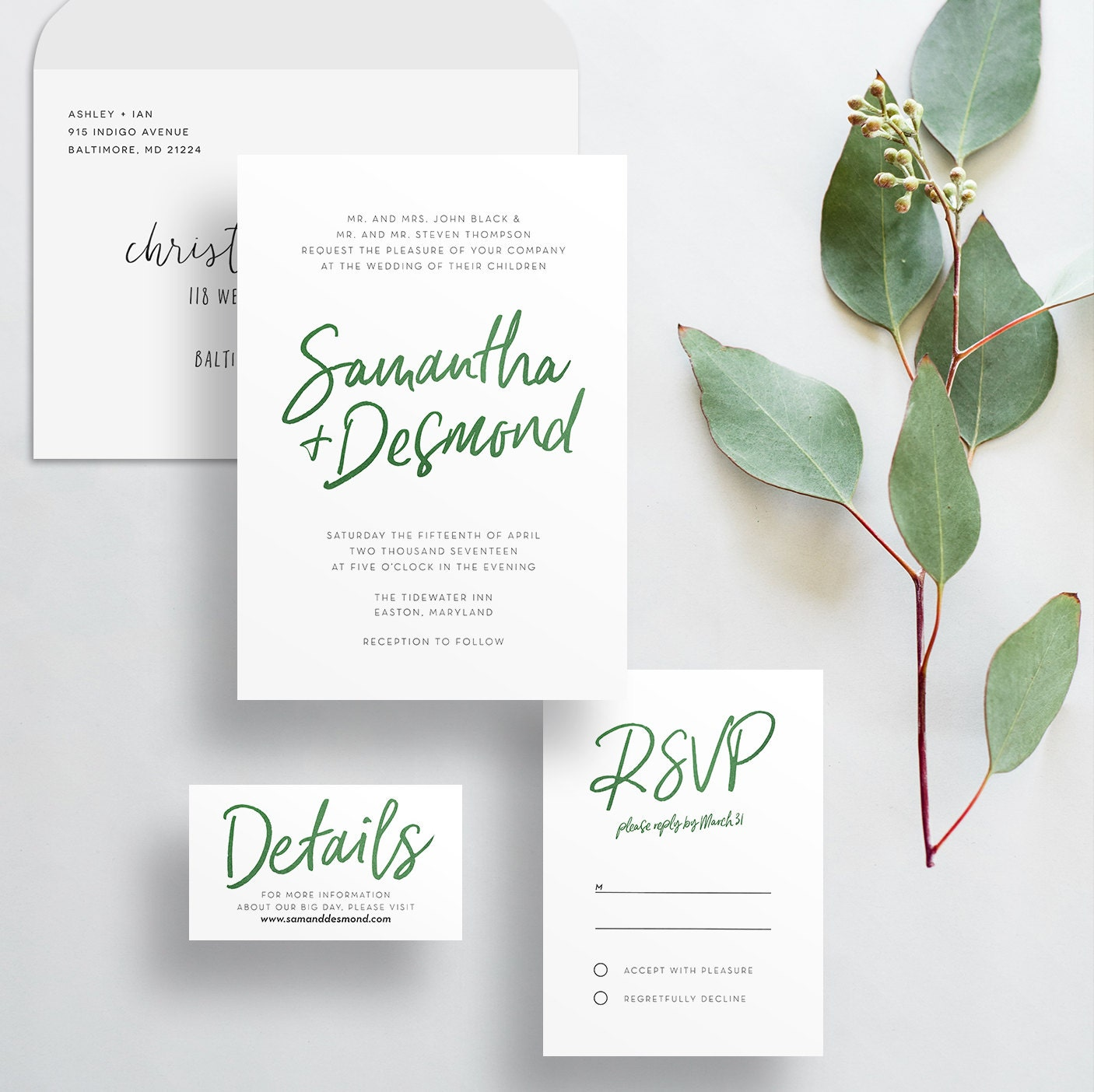 Watercolor Hand Lettering Wedding Invites Dark Green
